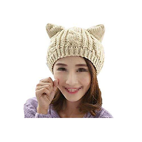 Amberetech Cute Woollike Knitted CAT Kitty Ears Women Lady Girl Headgear Crochet Hats (Beige) -