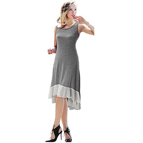 vovotrade Gris Las mujeres más tamaño sin mangas de gasa Hem Vestido Casual Flounced