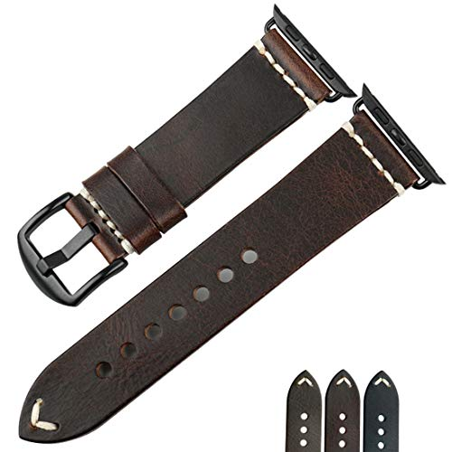 MAIKES Compatible Apple Watch Band 4 Colors Oil Wax Leather Watch Strap Replacement for iWatch Apple Watch 44mm 40mm 42mm 38mm Series 4/3/2/1 (44mm, Dark Brown+Black Buckle)