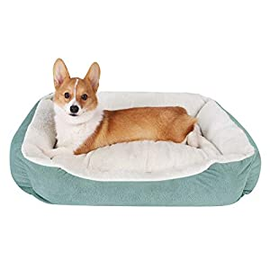 JMHUND Dog Bed for Medium Dogs, Warming Rectangle Washable Pet Cat Bed Breathable Soft Cotton with Removable Cushion…