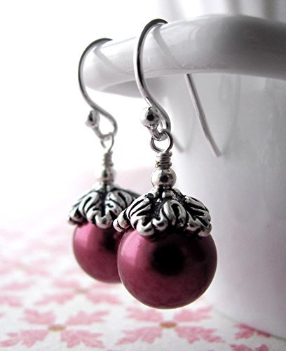 Petite Magenta Glass Pearl Earrings, Romantic Vintage Style Wedding Jewelry, Bridal and Bridesmaid Jewelry - Timeless Cherry Glass
