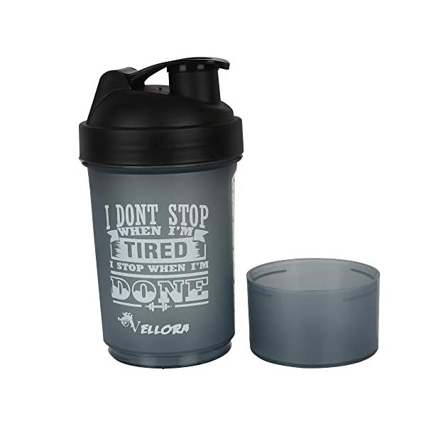 VELLORA GYM Plastic Bottle With Detachable Storage Container, Set of 1 2021 July Snap on Power Mixer and Storage Box: Experience the scientifically designed Power Mixer/Strainer which helps you eliminating powdered lumps completely and carry your protein supplement along with your shaker. Smart One has got one detachable storage box. Durable Quality, BPA Free, No Leaking: It's a Leak-Free shaker made from high quality food grade, non-toxic and 100% BPA Free for your health safety. Easy Clean, Easy Use and Easy Carry: It is easy to fill and easy to clean, giving you long years of use. Our advanced design let you open the lid easily. You can open and drink with one hand, and stay hydrated while performing other actions. Its little key chain helps in easy carry, carry even with a finger.
