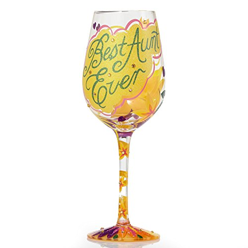 Lolita Best Aunt Ever Artisan Painted Wine Glass Gift