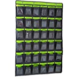 Hanging Organizer with Pockets, 36 Clear Pouches Thicker Oxford Cloth Classroom Pocket Chart for Teacher Cell Phones Holder Door Hanging Calculator Organizer Hanging Closet Organizer (Green)