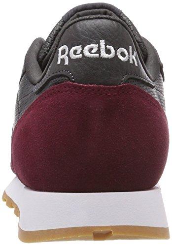 Reebok Herren Classic Leather GI Gymnastikschuhe, Grau schwarz (Coal/Urban Maroon/White/Gum 000)