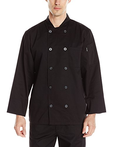 Chef Code Men's Basic Pearl Button Long Sleeve Coat, Black, Large by Chef Code