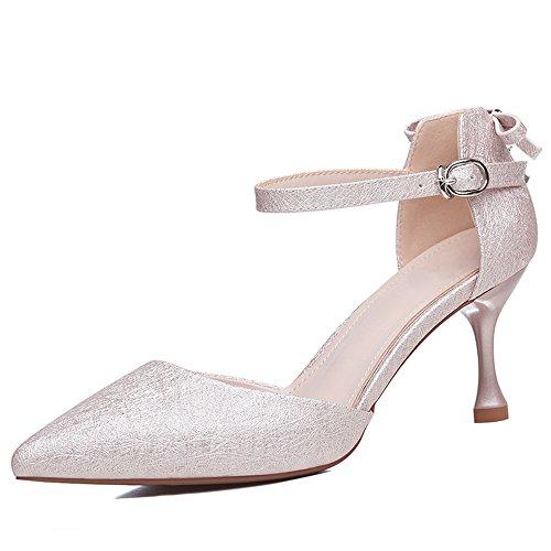 Zapatos XZGC de Punta Rosa Altos Tacones Primavera con Fina Hebilla de wwXF7qO