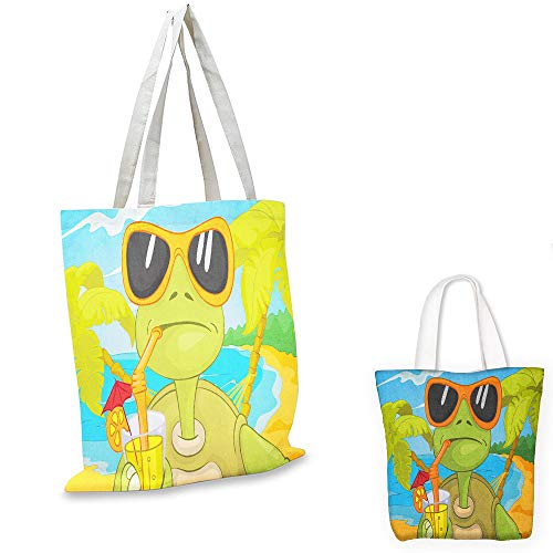 shopping bag Turtle Cool Sea Turtle with Sunglasses Drinking Cocktail at the Beach Cartoon Green Orange Pale Blue pocketable shopping bag