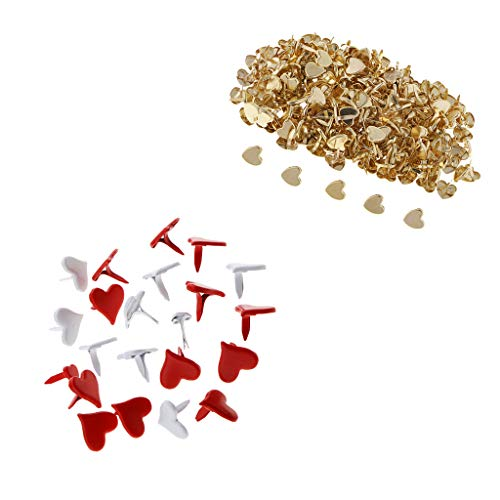 - Prettyia 300 Pieces 9/11mm Red White Golden Plated Mini Paper Fasteners Heart Love Shape Metal Iron Brads Scrapbooking Brads Embellishments DIY Card Making