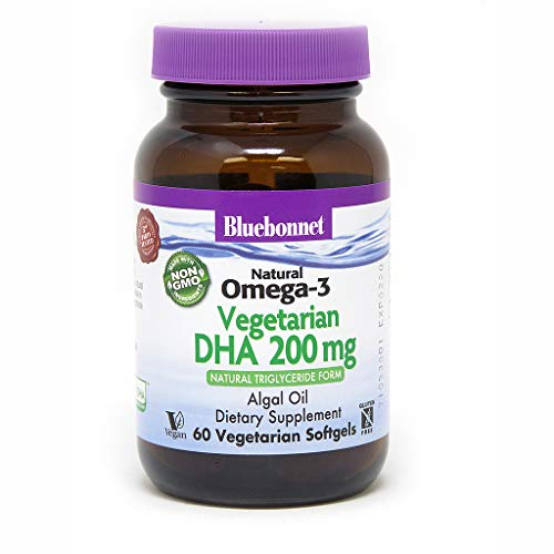 BlueBonnet Natural Omega-3 Vegetarian DHA Vegetarian Softgels, 200 mg, 60 Count