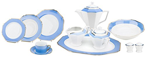 Setting Place Porcelain - Majestic Porcelain G1636D 49-Piece Dinner Set, Octagon-Shaped Gold-Plated Baby Blue Place Setting, White Porcelain Dinnerware Set, Service for 8
