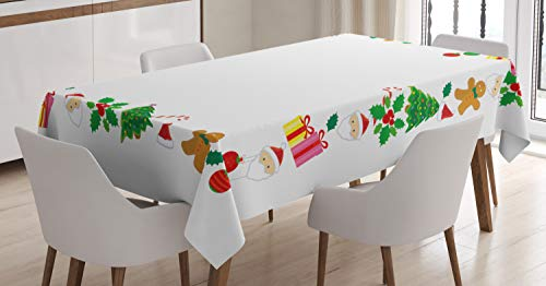 (Ambesonne Christmas Tablecloth, Colorful Border with Different Clip Arts Holiday Festivity Santa Trees Balls, Dining Room Kitchen Rectangular Table Cover, 60 W X 90 L Inches, Multicolor)