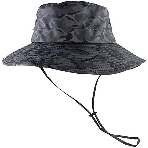 CAMOLAND Camouflage Outdoor Fishing Boonie Hat with Wide Brim UV Protection Summer Safari Sling Bucket Cap UPF 50+ (Black) - Large Brim Bucket