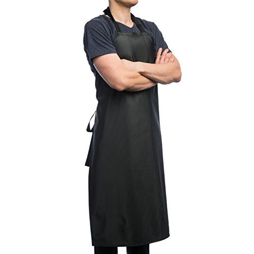 Aulett Home Waterproof Rubber Vinyl Apron - New 2018 Heavy Duty Model - Best for Staying Dry When Dishwashing, Lab Work, Butcher, Dog Grooming, Cleaning Fish - Industrial Chemical Resistant Plastic]()