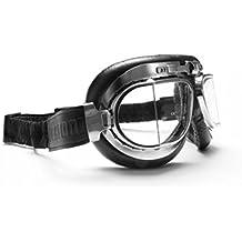 [Patrocinado] clásico Motocicleta anteojos con lentes antiniebla y anticrash Squared–Acero chapado en cromo rim- by Bertoni Italy–AF193CR