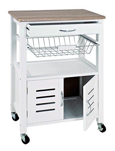HAKU Möbel 40330 Küchenwagen, 37 x 58 x 84 cm, weiß / eiche hell