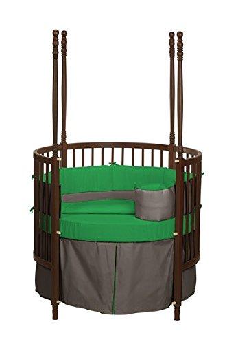 ベビードール寝具ソリッドリバーシブルラウンドベビーベッド寝具セット、ブラウン/グリーン   B000VL43VA