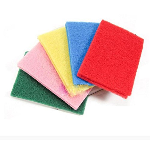 Iuhan 10pcs NEW Kitchen Home Scouring Scour Scrub Cleaning Pads (Color Random)