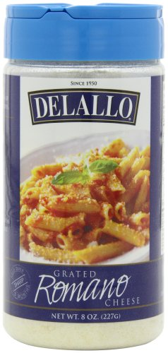 DeLallo Grated Romano Cheese, 8-Ounce Unit (Pack of 4)