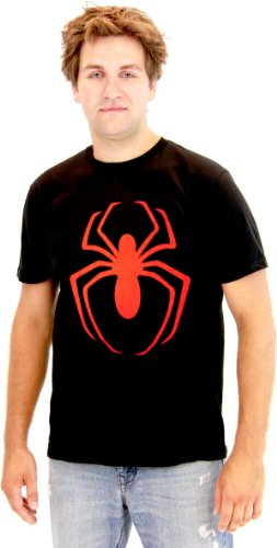 The Amazing Spider-Man Red Spider Logo Adult Black T-Shirt (Adult XX-Large)