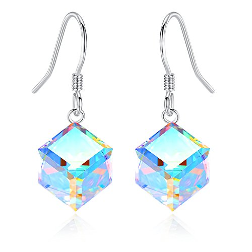 EleShow S925 Sterling Silver Earrings for Women Cube Earrings for Her Earrings Hypoallergenic Crystal from Swarovski (A_Color Changing Drop ()