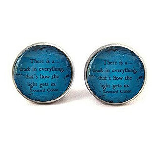 Cohen Quote   Inspirational Quote Earrings   Glass Pendant   Gift Idea   Leonard Cohen   There Is A Crack In Everything   Encouraging Quote