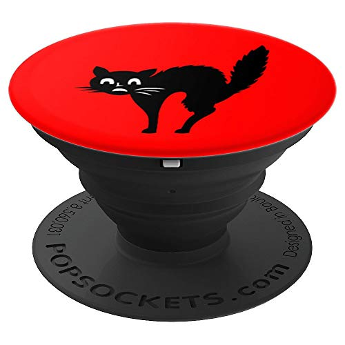 Cat Kitten Pussycat Scared Spooky Halloween Design - PopSockets Grip and Stand for Phones and Tablets]()