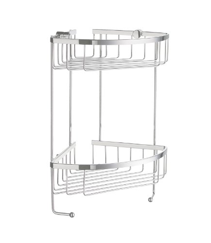- DK2031 Double Corner Basket with Hooks- Polished Chrome