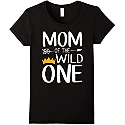 Womens Funny Shirt Cute Mom Of The Wild One Thing 1st Birthday XL Black
