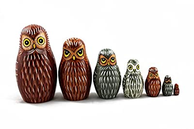 Matryoshka Russian Nesting Doll Babushka Beautiful Owl Family Owls Eagle-owl Set 7 Pieces Pcs Wooden Hand Painted Painting Souvenir Gift