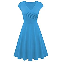 EFOFEI Womens Casual Swing Short Sleeve Dress Wrap Solid Color A Line Skater Dress