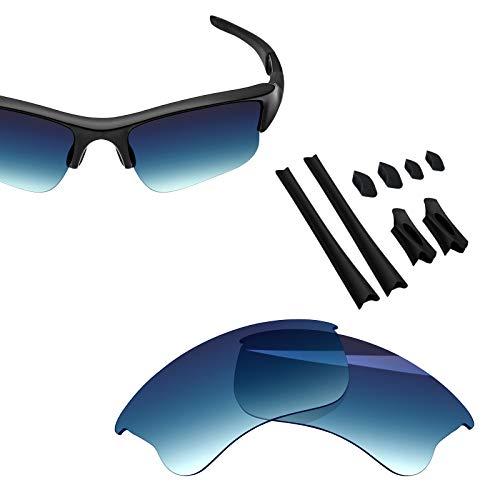 BlazerBuck Anti-salt Polarized Replacement Lenses & Sock Kit for Oakley Flak Jacket XLJ - Blue ()
