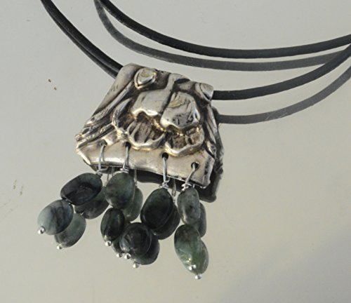 Solid Sterling Silver Antique Floral .925 Genuine Gemstone Emerald Leather Fringe Dangle...
