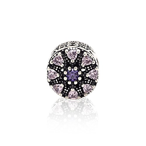 SouthBeat S925 Sterling Silver Shimmering Medallion Charm Bead Micro Pave Crystal Women Bracelet DIY Jewelry Making 10x10mm 1 Pcs per Bag