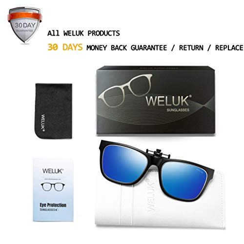 38ca63b5f14f8 Amazon.com  WELUK Polarized Clip-on Sunglasses Flip up Style over  Prescription Glasses for Driving Lightweight  Clothing