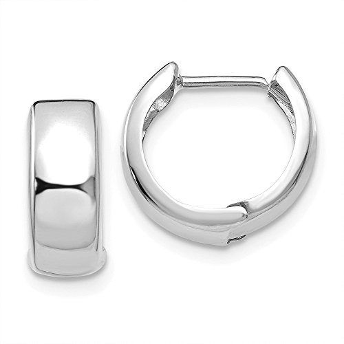 14k White Gold 1/2IN Diameter Small Polished Hinged Hoop Huggie Earrings (0.4IN x 0.1IN ) - White Gold Polished Earring