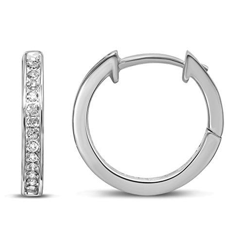 Diamond Jewel 10K White Gold 1/10 cttw Diamond Huggy Hoop Earrings by Diamond Jewel