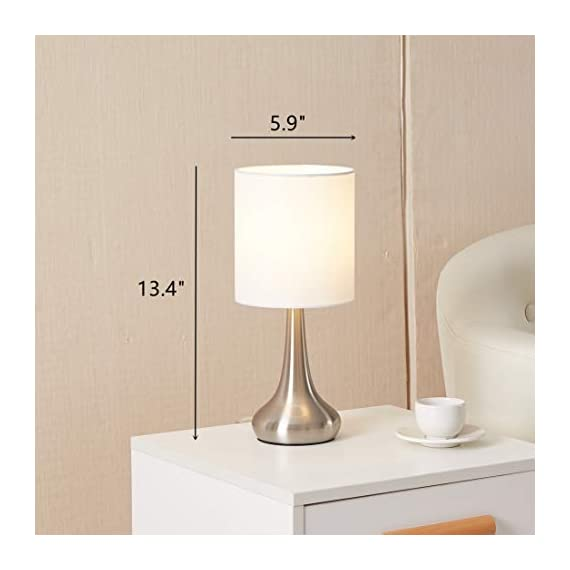 """FERWVEW Modern Small Table Lamp, Bedside Desk lamp with White Fabric Shade, Nightstand Table Lamps for Living Room Bedroom Study Room - Simple and concise style in a brush nickle lamp base with white fabric shade, the small table lamp gives off a romantic and warm atmosphere anywhere in your home decor. Wonderful gifts for the coming Thanksgiving Day to your friends, relatives or business partners. Dimension: 5.9"""" D x 13.4"""" H. Bulb: Each lamp takes AC 110V-120V, 60 Wattage Max. E26 socket, compatible with CFL, LED, Incandescent Bulbs (Bulbs Not Included). UL Listed. Comes with all mounting hardware and instruction for easy installation. - lamps, bedroom-decor, bedroom - 41ifNv3J2SL. SS570  -"""