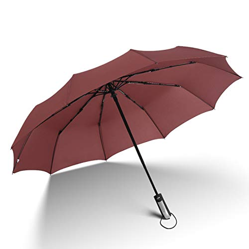 (KINGYES Compact Travel Umbrella - Windproof, Reinforced Canopy, Ergonomic Handle, Auto Open/Close 5 Colors-Factory Outlet Umbrella (Coffee))