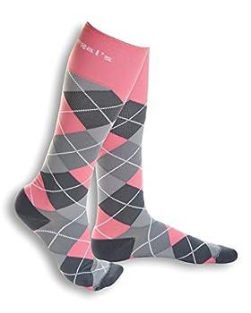 15-20 mmHg True Graduated Compression Energy Socks (Everyday, Travel, Maternity, Sport) (WC, PINK/GREY ARGYLE)