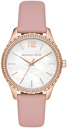 Michael Kors Women's Layton Stainless Steel Quartz Watch with Leather Strap, Pink, 18 (Model: MK2909) WeeklyReviewer