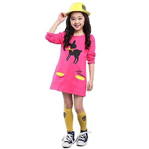 FTSUCQ Girls Long Sleeve Cartoon Printed Shirt Dress,Red 110