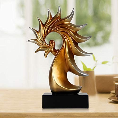 LLSDD 家庭用アクセサリー樹脂工芸品家具 - レトロデコレーションオフィス用家具 - オーナメントセラミックステーブルトップ。 (颜色 Color : Gold)