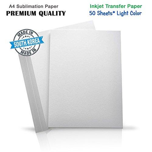 INKUTEN Premium Inkjet Heat Transfer Paper for (Light Colored Fabrics), Pure Cotton, Polyster, Ricoh, SawGrass Printers (50 Sheets) A4