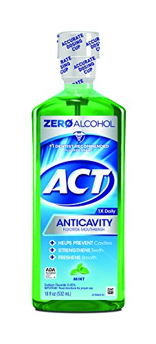 - ACT Alcohol Free Anti-Cavity Fluoride Mouthwash Mint 18 oz Helps Prevent Cavities Children's, Strengthen Tooth Enamel and Freshen Breath with Fluoride & Exact Dosage Meter