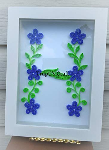 Paper Quilling Monogram 'H' Wall Frame/Wall Hanging/Home Decor/Gift / Children Room Decor/Monogram / Paper Quilling Gift by Trupti's Craft (Image #2)