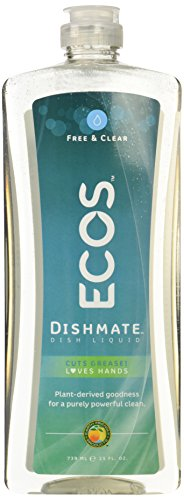 Natural Dish Liquid Soap - Earth Friendly Products Dishmate Detergent, Free and Clear, 25 oz