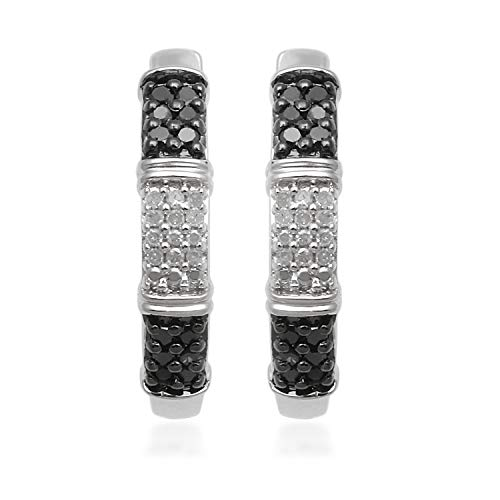 Jewelili Sterling Silver 1/4cttw Round Black and White Diamond Ebony and Ivory Earrings (Earrings Black Studded Diamond)