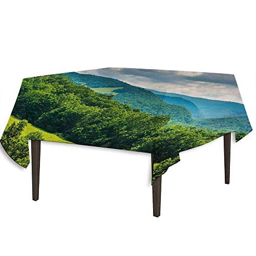 Halloween Virginia Highlands (kangkaishi Landscape Printed Tablecloth View of Mountains in Potomac Highlands of West Virginia Rural Scenery Picture Outdoor and Indoor use W36.2 x L36.2 Inch Forest)