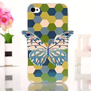 SHOUJIKE Green Butterfly Pattern Three-Dimensional Blue TPU Phone Case for iPhone 4/4S